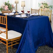 "90"" x 132"" Rectangular Seamless Italian Velvet Tablecloth - Navy Blue 25523 (1pc / pk)"