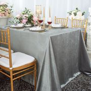"90"" x 132"" Rectangular Seamless Italian Velvet Tablecloth - Silver 25540 (1pc / pk)"