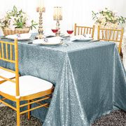 "90""x 132"" Rectangular Sequin Taffeta Tablecloth - Dusty Blue 01503 (1pc/pk)"