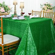 "90""x 132"" Rectangular Sequin Taffeta Tablecloth - Emerald Green 01538 (1pc/pk)"