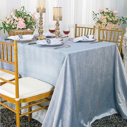 "90"" x 156"" Rectangular Seamless Italian Velvet Tablecloth - Dusty Blue 25603 (1pc / pk)"