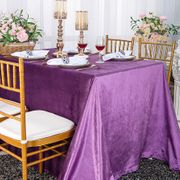 "90"" x 156"" Seamless Rectangular Italian Velvet Tablecloths (10 Colors)"