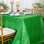 "90""x 156"" Sequin Rectangular Taffeta Tablecloth - Emerald Green 01638 (1pc/pk)"
