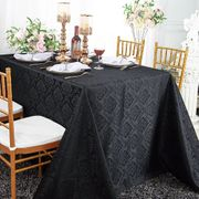 "90""x 132"" Seamless Rectangular Marquis Damask Jacquard Polyester Tablecloths - Black 98939(1pc/pk)"