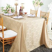 "90""x 132"" Seamless Rectangular Marquis Damask Jacquard Polyester Tablecloths - Champagne 98928(1pc/pk)"