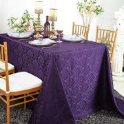 "90""x 132"" Seamless Rectangular Marquis Damask Jacquard Polyester Tablecloths - Eggplant 98945(1pc/pk)"