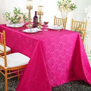 "90""x 132"" Seamless Rectangular Marquis Damask Jacquard Polyester Tablecloths - Fuchsia 98909(1pc/pk)"