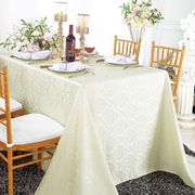 "90""x 132"" Seamless Rectangular Marquis Damask Jacquard Polyester Tablecloths - Ivory 98902(1pc/pk)"