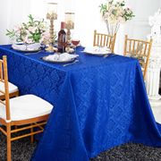 "90""x 132"" Seamless Rectangular Marquis Damask Jacquard Polyester Tablecloths - Royal Blue 98922(1pc/pk)"