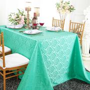 "90""x 132"" Seamless Rectangular Marquis Damask Jacquard Polyester Tablecloths - Tiff Blue / Aqua Blue 98918(1pc/pk)"
