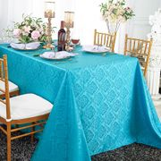 "90""x 132"" Seamless Rectangular Marquis Damask Jacquard Polyester Tablecloths - Turquoise 98985(1pc/pk)"