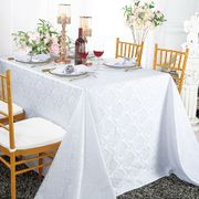 "90""x 132"" Seamless Rectangular Marquis Damask Jacquard Polyester Tablecloths - White 98901(1pc/pk)"