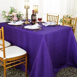 "90""x132"" Rectangular Paillette Poly Flax / Burlap Tablecloths (10 Colors)"