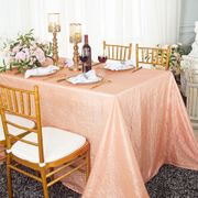 "90""x 132"" Rectangular Seamless Crushed Taffeta Tablecloth - Apricot/Peach 61731(1pc/pk)"