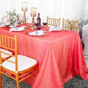 "90""x 132"" Rectangular Seamless Crushed Taffeta Tablecloth - Coral 61706 (1pc/pk)"