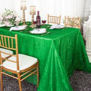 "90""x 132"" Rectangular Seamless Crushed Taffeta Tablecloth - Emerald Green 61738 (1pc/pk)"