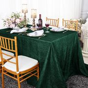 "90""x 132"" Rectangular Seamless Crushed Taffeta Tablecloth - Hunter Green / Holly Green 61719(1pc/pk)"