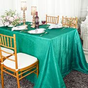 "90""x 132"" Rectangular Seamless Crushed Taffeta Tablecloth - Jade 61726(1pc/pk)"