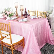 "90""x 132"" Rectangular Seamless Crushed Taffeta Tablecloth - Pink 61705(1pc/pk)"