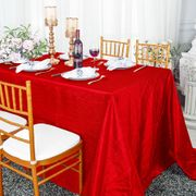 "90""x 132"" Rectangular Seamless Crushed Taffeta Tablecloth - Red 61712(1pc/pk)"