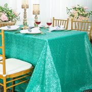 "90""x 132"" Rectangular Sequin Taffeta Tablecloth - Tiff Blue / Aqua Blue 01518 (1pc/pk)"