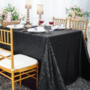 "90""x 132"" Rectangular Sequin Taffeta Tablecloth - Black 01539 (1pc/pk)"