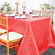 "90""x132"" Rectangle  Sequin Tablecloth - Coral 01506 (1pc/pk)"