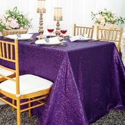 "90""x132"" Rectangle  Sequin Tablecloth - Eggplant 01545 (1pc/pk)"