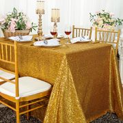 "90""x132"" Rectangle  Sequin Tablecloth - Gold 01527 (1pc/pk)"