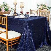"90""x 132"" Rectangular Sequin Taffeta Tablecloth - Navy Blue 01523(1pc/pk)"