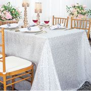 "90""x 132"" Rectangular Sequin Taffeta Tablecloth - Platinum 01571 (1pc/pk)"