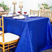 "90""x 132"" Rectangular Sequin Taffeta Tablecloth - Royal Blue 01522 (1pc/pk)"