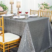 "90""x 132"" Rectangular Sequin Taffeta Tablecloth - Silver 01540 (1pc/pk)"