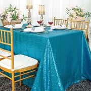 "90""x132"" Rectangle  Sequin Tablecloth - Turquoise 01585 (1pc/pk)"