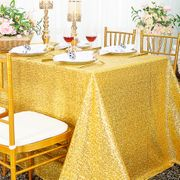 "90""x 132"" Rectangular Sequin Taffeta Tablecloth - Light Gold 01503 (1pc/pk)"