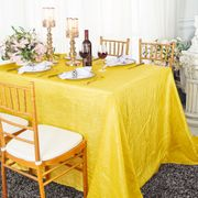 "90""x 132"" Rectangular Seamless Crushed Taffeta Tablecloth - Canary Yellow 61716(1pc/pk)"