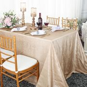 "90""x 132"" Rectangular Seamless Crushed Taffeta Tablecloth - Champagne 61728(1pc/pk)"