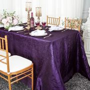 "90""x 132"" Rectangular Seamless Crushed Taffeta Tablecloth - Eggplant 61745(1pc/pk)"