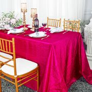 "90""x 132"" Rectangular Seamless Crushed Taffeta Tablecloth - Fuchsia 61709(1pc/pk)"