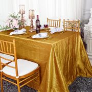 "90""x 132"" Rectangular Seamless Crushed Taffeta Tablecloth - Gold 61727(1pc/pk)"