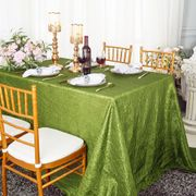 "90""x 132"" Rectangular Seamless Crushed Taffeta Tablecloth - Moss Green 61717(1pc/pk)"