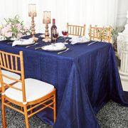 "90""x 132"" Rectangular Seamless Crushed Taffeta Tablecloth - Navy Blue 61723(1pc/pk)"
