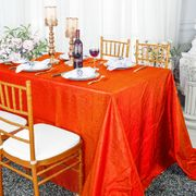 "90""x 132"" Rectangular Seamless Crushed Taffeta Tablecloth - Orange 61733(1pc/pk)"