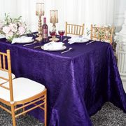 "90""x 132"" Rectangular Seamless Crushed Taffeta Tablecloth - Regency Purple 61763(1pc/pk"