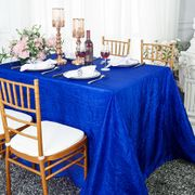 "90""x 132"" Rectangular Seamless Crushed Taffeta Tablecloth - Royal Blue 61722(1pc/pk)"