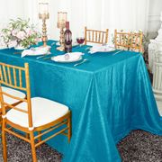 "90""x 132"" Rectangular Seamless Crushed Taffeta Tablecloth - Turquoise 61785(1pc/pk)"