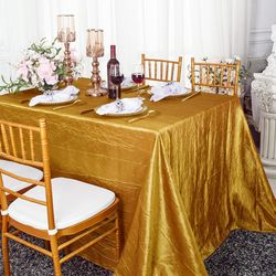 "90""x 132"" Rectangular Seamless Crushed Taffeta Tablecloths (33 Colors)"