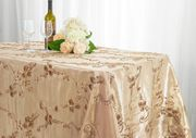 "90""x132"" Rectangular Seamless Ribbon Taffeta Tablecloth - Champagne 65728(1pc/pk)"