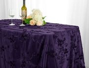 "90""x132"" Rectangle Seamless Ribbon Taffeta Tablecloth - Eggplant 65745(1pc/pk)"