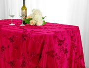 "90""x132"" Rectangular Seamless Ribbon Taffeta Tablecloth - Fuchsia 65709(1pc/pk)"